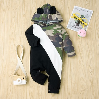 Baby Camouflage Splice Hooded Jumpsuit