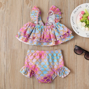 2-piece Baby / Toddler Girl Pretty Mermaid Scale Print Layered Top and Ruffled Bottom Swimsuit Set