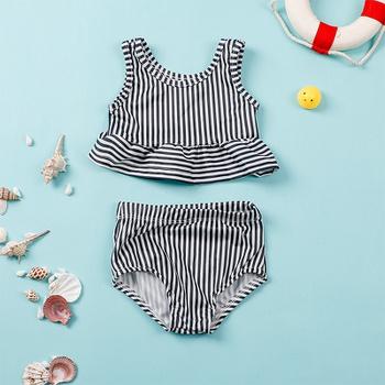 2-pcs Baby Girl Stripes Swimsuit Sleeveless Fashion Toddler Baby Girls Kids Cute Beachwear Bathing Swimwear