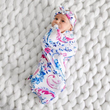 2-pcs Floral Newborn Baby Swaddle Blanket Infant Swaddle Wrap Hat Outfits Photograph