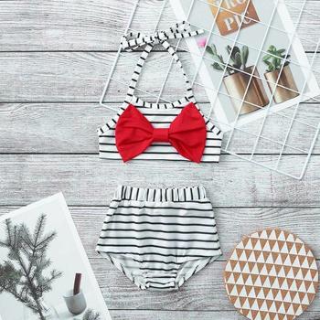 2pcs Baby Girl Stripes Swimsuit