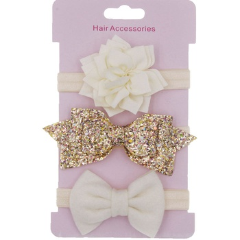 3-piece Girl's Flower Sequined Bow Headband Set