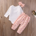 Pretty Rabbit Print Long-sleeve Bodysuit,Polka Dot Pants and Headband Set for Baby Girl