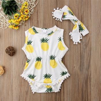 Fresh Pineapple Print Sleeveless Bodysuit and Headband Set for Baby Girl
