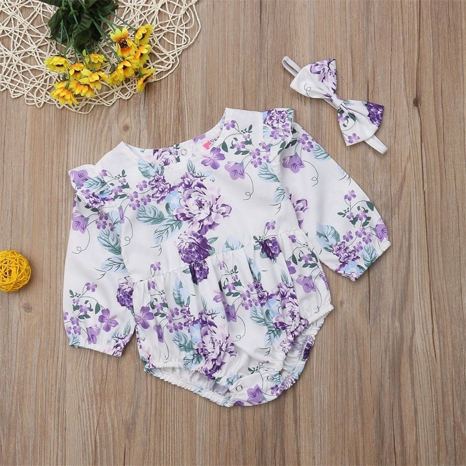 0e0129773 Baby Sweet Allover Floral Ruffled Long-sleeve Bodysuit and Headband ...