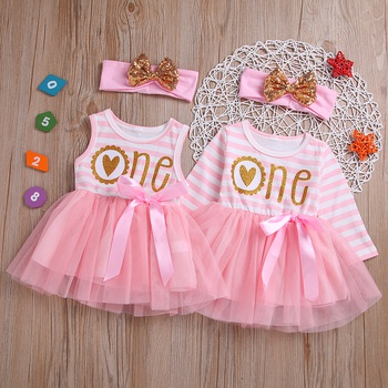 70f4a733393 Baby  Toddler Girl s Birthday Striped Letter Print Tulle Dress and Bow  Headband