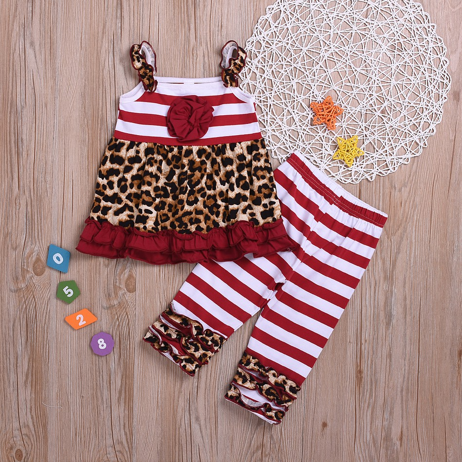 6d2e8b49470f Baby / Toddler Girl Striped Leopard Print Ruffled Strappy Top and Pants Set