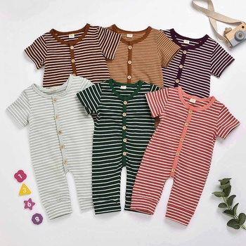Baby Stripe Short-sleeve Jumpsuit