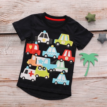 Fun Car Pattern Shirt-sleeve Te for Baby and Toddler