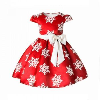 Gorgeous Snowflake Pattern Pleated Bowknot Short-sleeve Dress for Girls