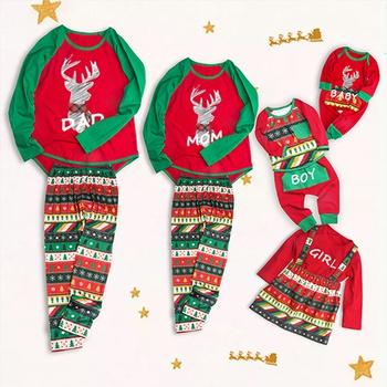 Lovely Deer Printed Family Matching Christmas Pajamas Set