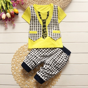Baby / Toddler Boy Faux-two Shirt and Plaid Pants Set