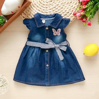 Baby Soft Denim Dresses Summer Hot-selling Kids Girls Dress Cotton Jeans Dresses with Belt