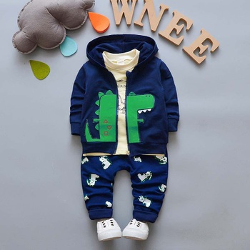 3-piece Baby / Toddler Lovely Dino Print Hooded Coat and Long-sleeve Tee with Pants Sets