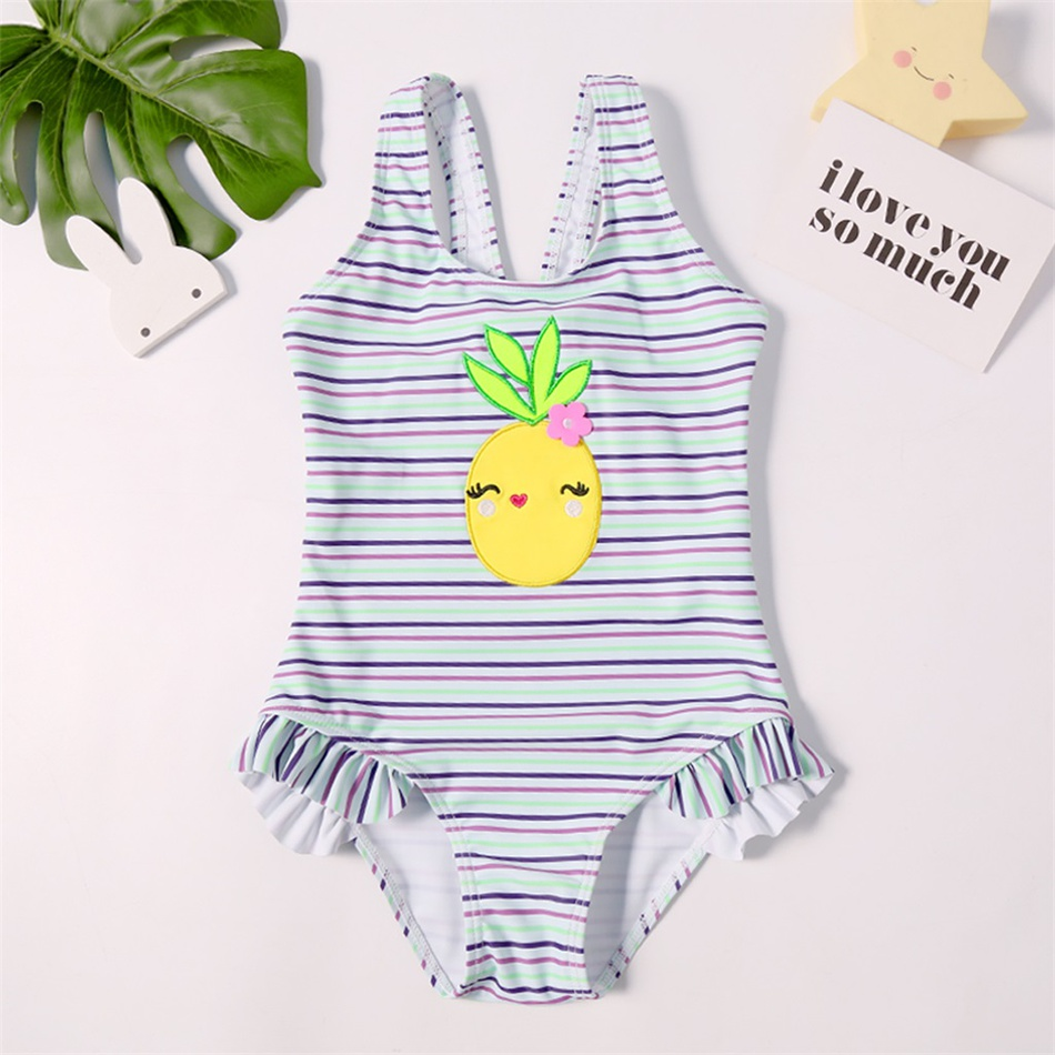 c30ec5c6f6 Kid Fresh Pineapple Applique Striped Swimsuit at PatPat.com