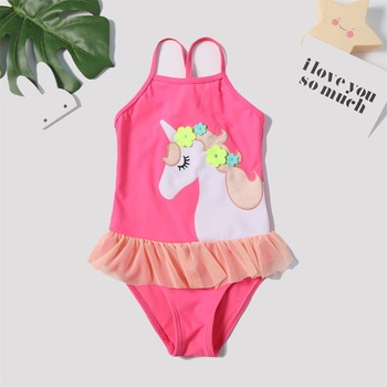 e08839ced86f8 Cute Unicorn Appliqued Swimsuit in Hot Pink