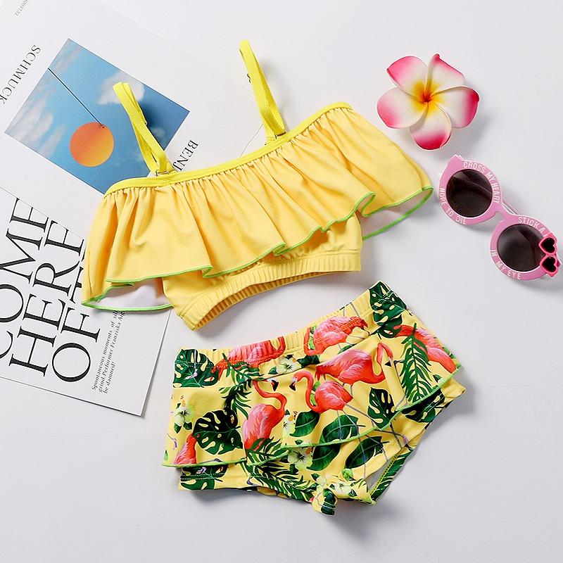 e3051553d Toddler bebé   cuello de volantes superior de natación de la correa del niño  niña y pantalones cortos de flamenco con volantes at PatPat.com