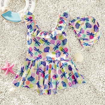 Toddler Girl Colorful Dragonfly Print Ruffle Collar One-piece Swimdress