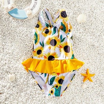 Toddler Girl Pretty Sunflower Print Ruffled One-piece Swimsuit