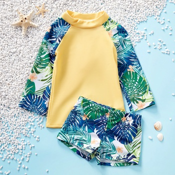 2-piece Baby / Toddler Boy Palm Leaf Print Rashguard and Trunk Swimsuit Set