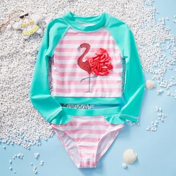 2-piece Toddler Girl Stylish Flamingo Decor Striped Rashguard and Bottom Swimsuit Set
