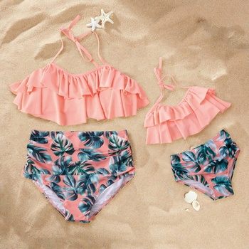 1714cdc1626fc Leaves Print Ruffled Halter 2-piece Bikini Set for Mom and Me