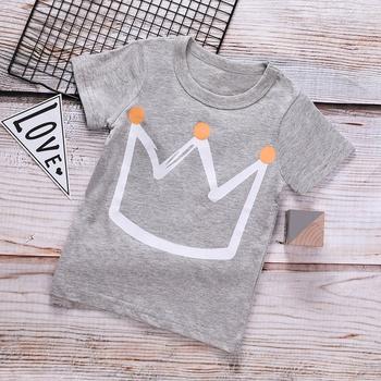7e2137db9 estilo de impresión corona corto-manga de la camiseta para el niño y el niño
