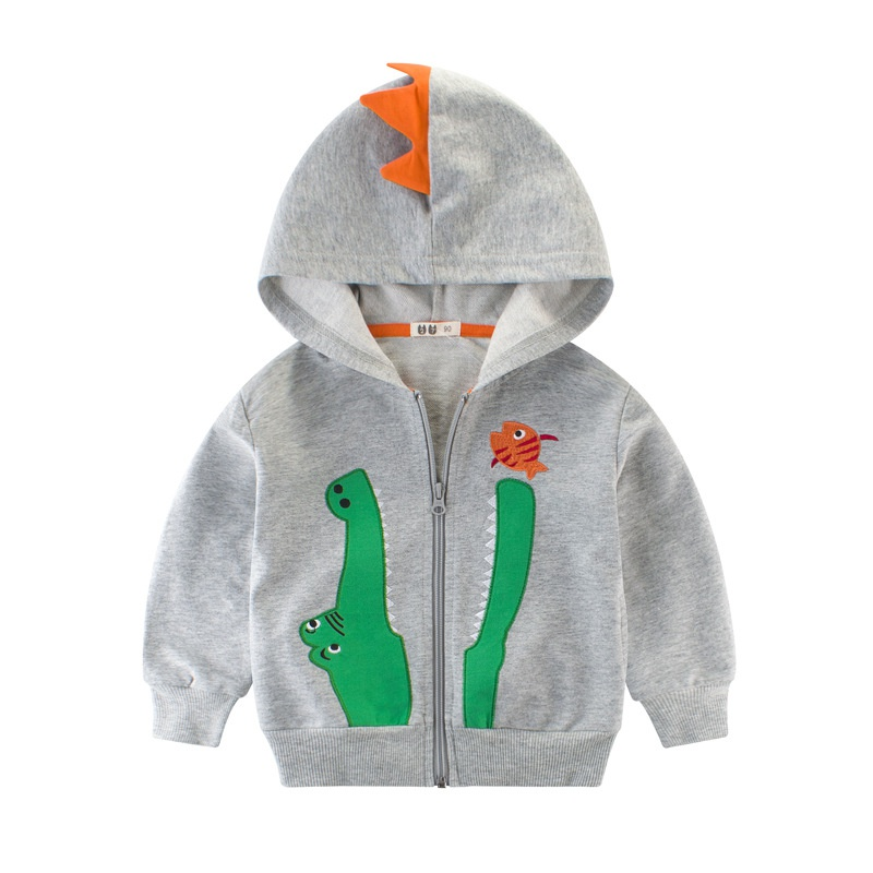 33d57b57e Cute Embroider Crocodile and Fish Hooded Jacket for Toddler Boy and Boy