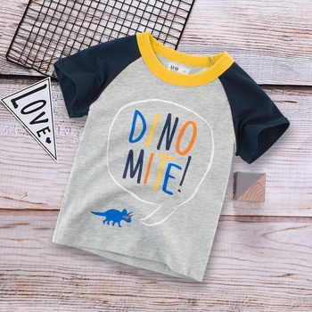 Fashionable Dinosaur Letter Print Splice Tee for Toddler and Kid