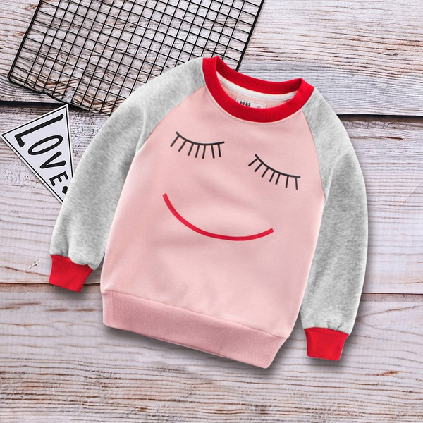Fashionable Expression Pattern Color Blocked Pullover