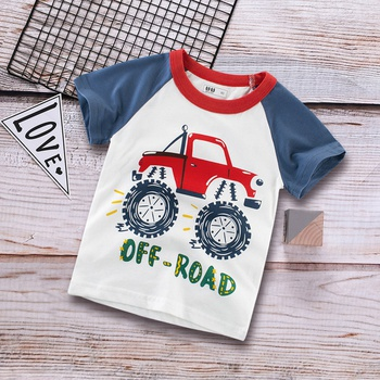 Cool OFF-ROAD Car Print Color Blocked Tee for Toddler and Kid
