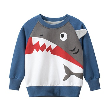 Stylish Cartoon Shark Print Sweatshirt