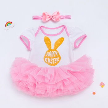 c7a3c22c535db Easter's Baby Girl's Easter Rabbit Print Tulle Dress and Headband