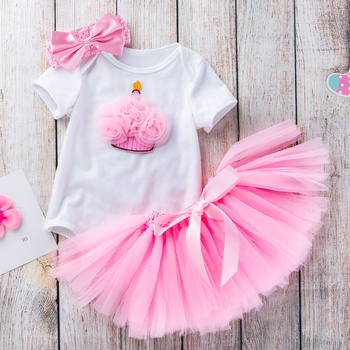 383041d6c2 Baby/ Toddler Girl's Birthday Crown Applique Bodysuit, Tulle Skirt and  Bowknot Headband