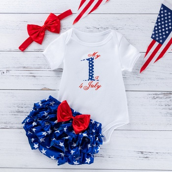 4e4ee7ca7ecb 3-piece Baby Independence Day 4th July Letter Print Bodysuit, Pants and  Bowknot Headband