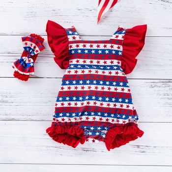 11504d04776d 2-piece Baby 4th July Independence Day Ruffled Bodysuit and Headband