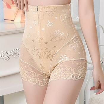 Women High Waist Slimming Tummy Lace Briefs With Zipper