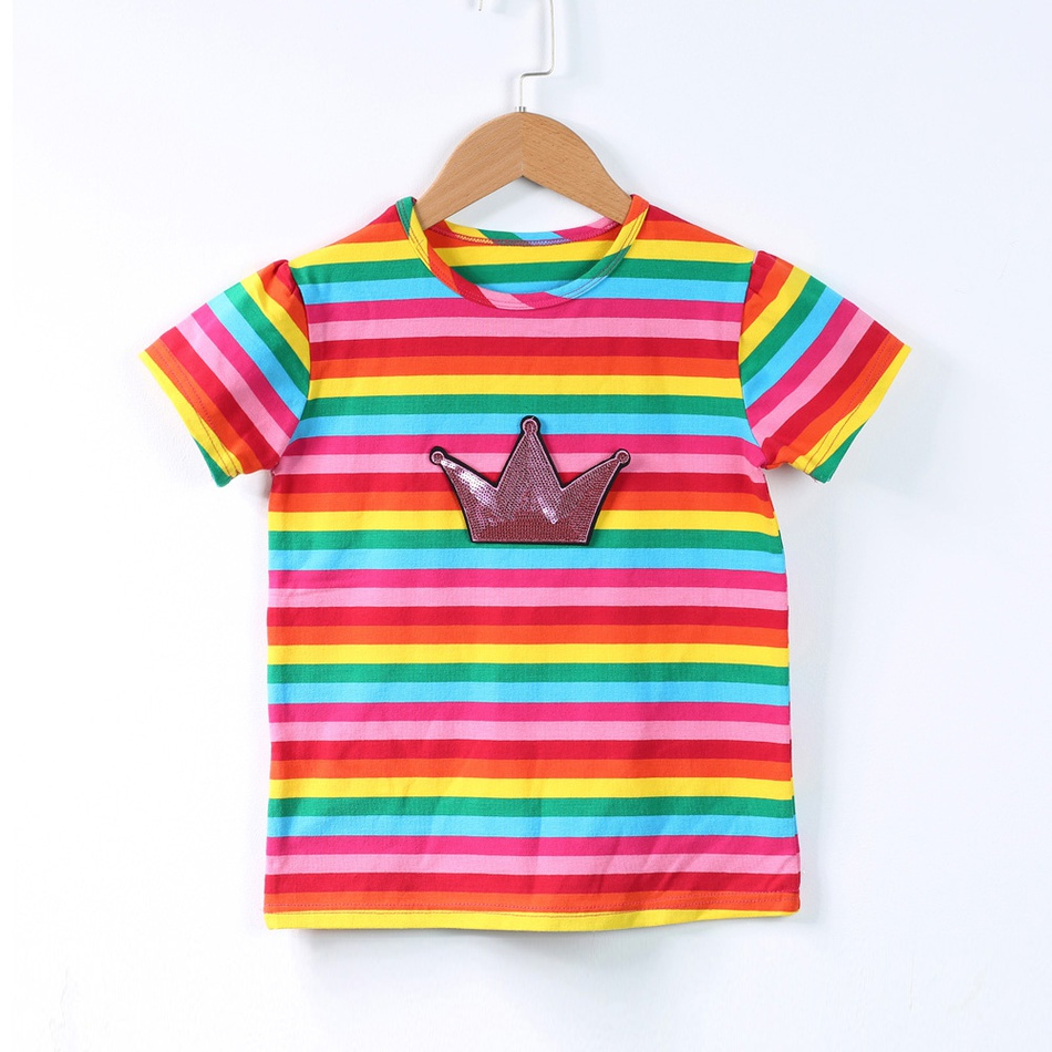 ccc9a2e8b8 Toddler Pretty Sequin Crown Rainbow Stripes Tee for Toddler Girls at ...