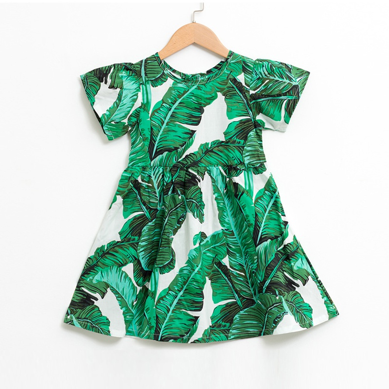 bee5ec634fcb Trendy Leaf Print Short-sleeve Dress in Dark Green for Toddler Girl and Girl