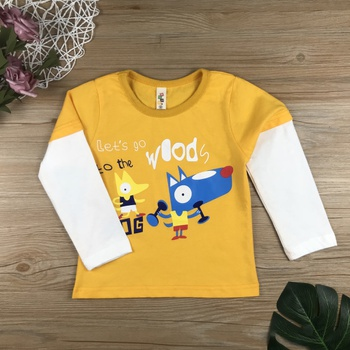 Cute Wolf Letter Print Splice Long-sleeve Top for Baby and Toddler
