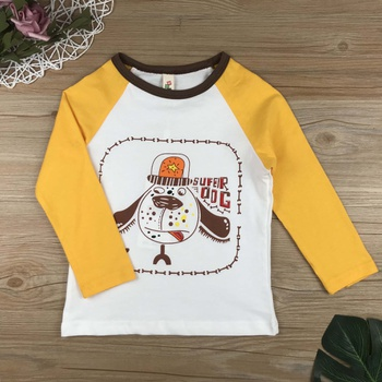 Cute Dog Print Color Blocked Long-sleeve Top for Baby and Toddler