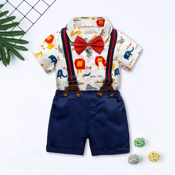 29307631c91 I Love Milk Lion Printed 2-Piece Cotton Shirt and Overalls Set for ...