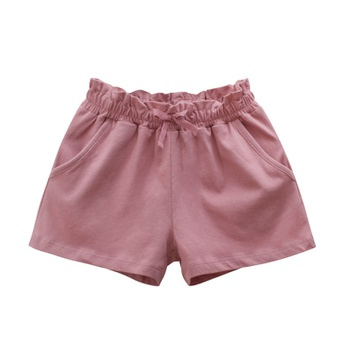 Baby / Toddler Girl Bowknot Flounced Decor Solid Shorts