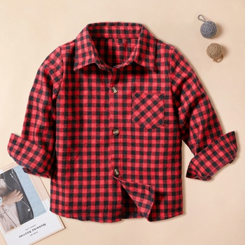 Trendy Christmas Plaid Long-sleeve Shirt for Boy