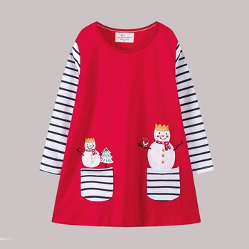Chic Snowman Pattern Two Strip Pocket Splice Long-sleeve Dress