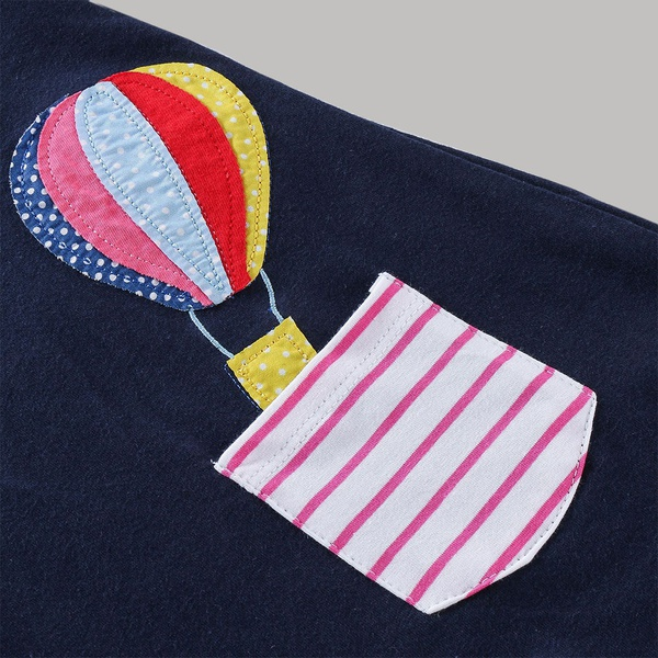 Causal Small Horse and  Hot Air Balloon Pattern Stripe Splice Dress