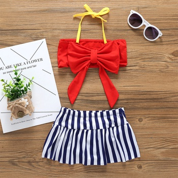 2-piece Stylish Bikini Top and Striped Swim Skirt Set