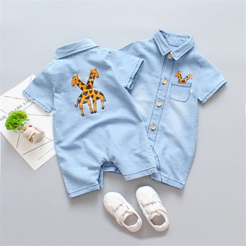 Baby Boy / Girl Cartoon Giraffe Pocket Design Denim Bodysuit