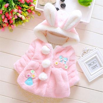 Baby / Toddler Rabbit ear Decor Floral Fluffy Long-sleeve Coat
