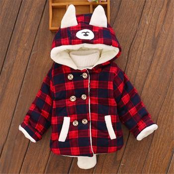 Baby / Toddler Girl Plaid Cartoon Ear Decor Long-sleeve Hooded Coat